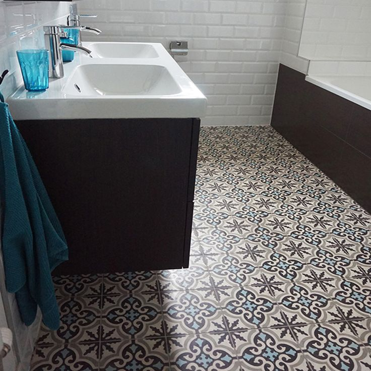 aisha cement tiles in brown and blue