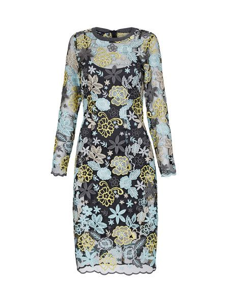 NEW ARRIVALS | MOSS & SPY 2016 Winter Collection.   The TINKERBELL DRESS is a modern, feminine and eye-catching dress. Featuring luxe embroidered flowers on mesh with scalloped edged sleeves and hem. Available NOW at ASPIRATIONS. #springracing #races #autumn #winter #horseraces