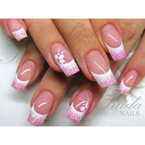 White Tips with Pink Glitter ❤ liked on Polyvore featuring beauty products, nail care and nails