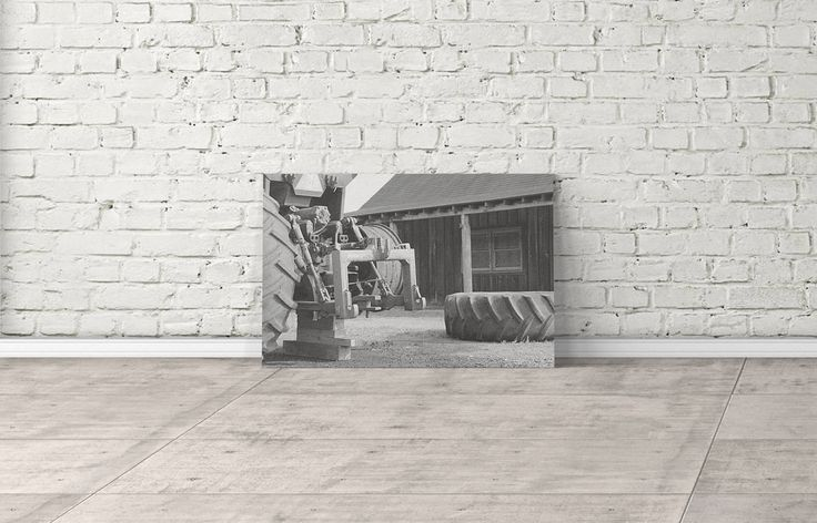 Black and White Tractor and House Canvas Print- Black and White Photography- Farm Photography- Home Decor- Multiple Sizes Available