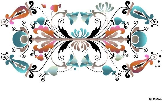 seamless floral pattern background colorful symmetric reflection style
