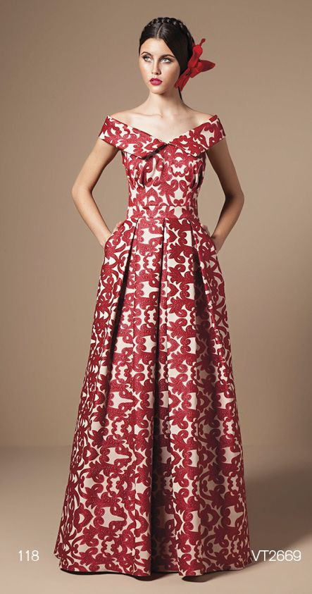 Red n white floor length fit and flare dress