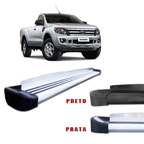 Estribo Lateral em Aluminio para Nova Ford Ranger 2013 em Diante CS Cabine Simples - Ponteira Prata ou Preto