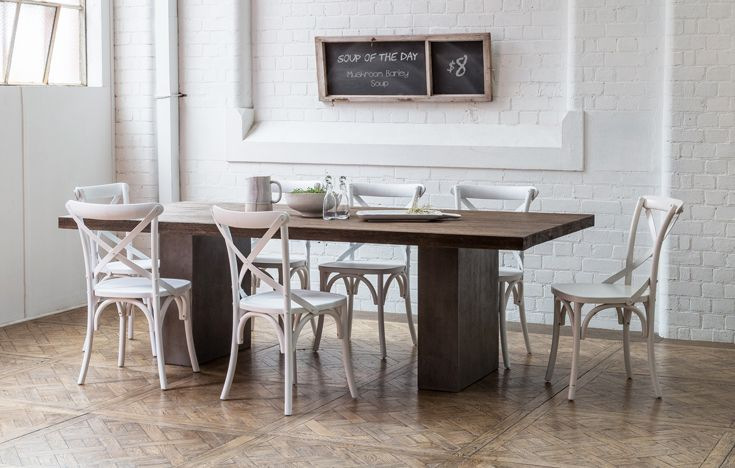 Murana 240cm Concrete Dining Table In Dark Grey With Oak Also