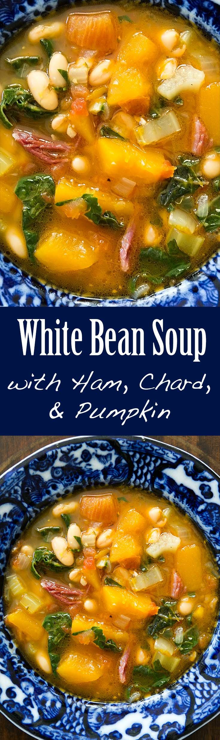 White Bean Soup with Ham, Pumpkin, and Chard ~ Hearty fall and winter soup with pumpkin, white beans, a ham hock, tomato, and chard. ~ SimplyRecipes.com