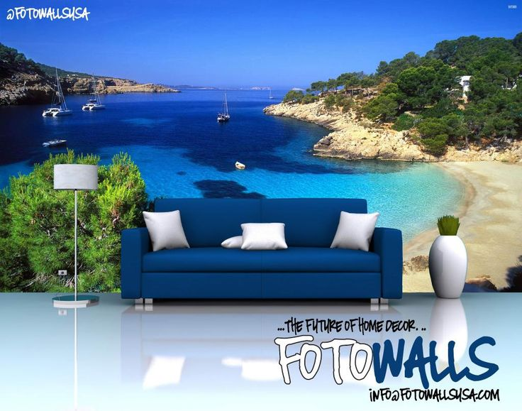Turn Your #livingroom Into #ibiza With Custom Wall Murals From  #fotowallsusa Info@