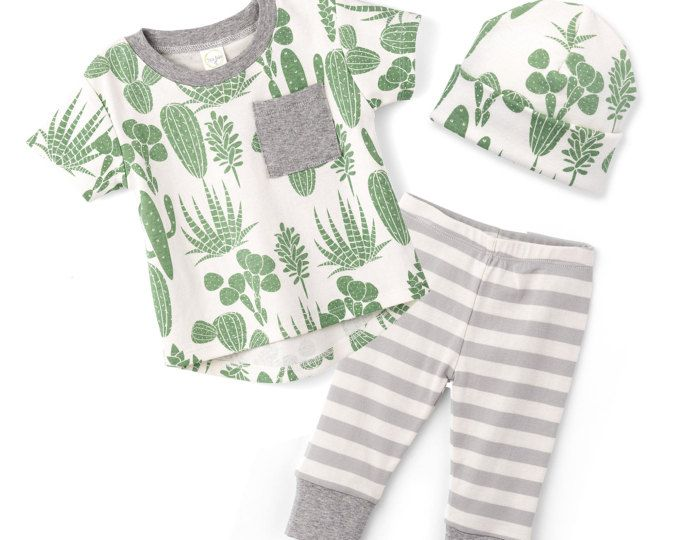 Baby Boy Outfit, Baby Boy Short Sleeve Outfit, Baby Boy Leggings, Newborn Boy Outfit, Cactus, Infant Boy, TesaBabe