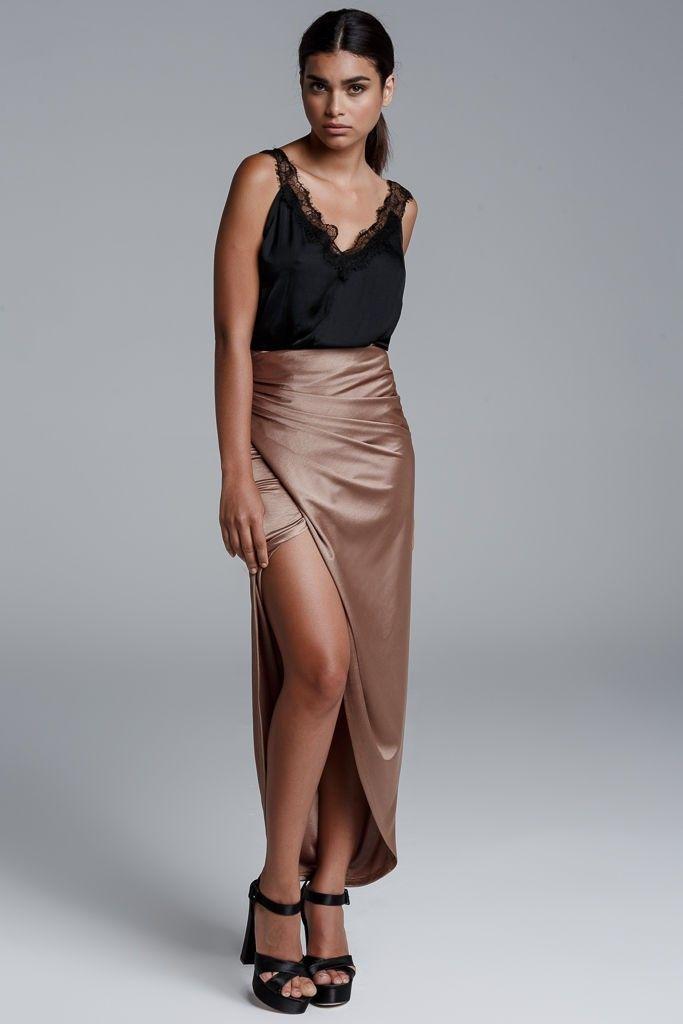 CKONTOVA midi maxi skirt and make the difference! Gold