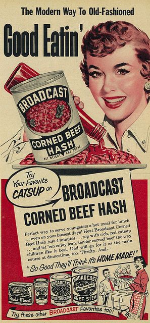 1953 for Broadcast Canned Corned Beef Hash. #vintage #1950s #food #ads