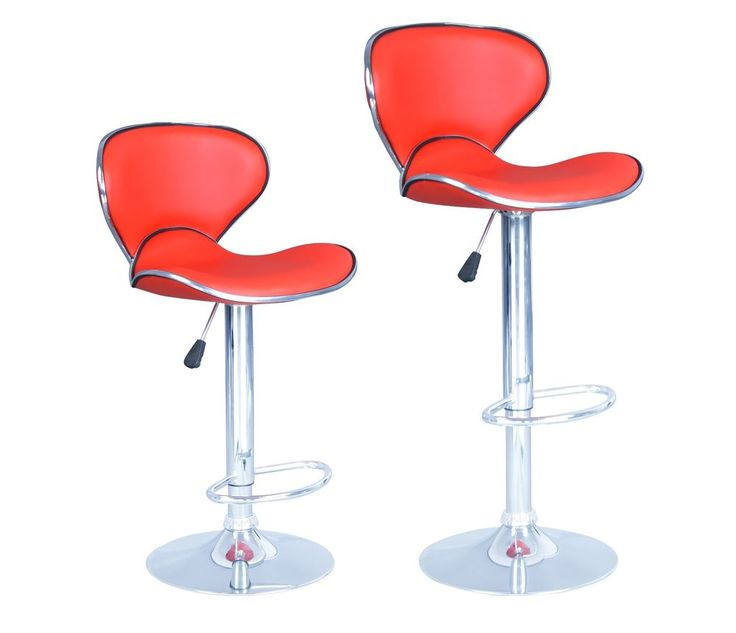 red modern adjustable synthetic leather swivel bar stools chairs b03sets of 2