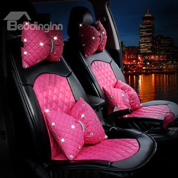 Pink Bow Style With Diamond Series And Real PU Leather Material Universal Car Seat Cover on sale, Buy Retail Price Car Seat Covers at Beddinginn.com