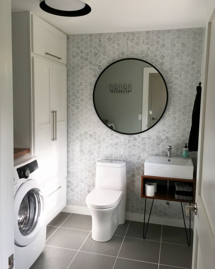 Laundry Room Half Bath final result. #hexagontile #carraramarble #hairpinlegs #blackandwhite #renovation  Umbra Hub Mirror #urbanoutfitters #DIY