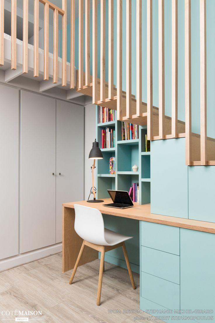 Chambre avec vue, Paris, Menuiseries sur mesure, Bureau sous escalier, Réalisation WOM Design - Stéphanie Michel-Girard - architecte d'intérieur