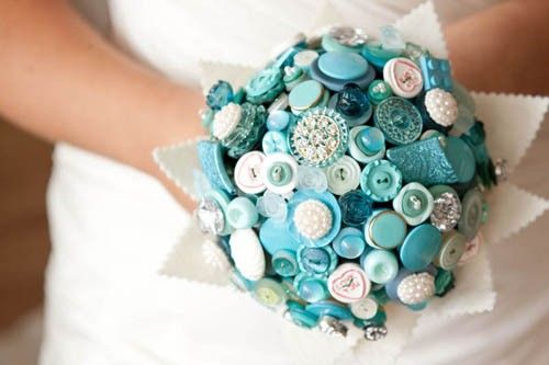 Bouquet de noiva original em azul Tiffany