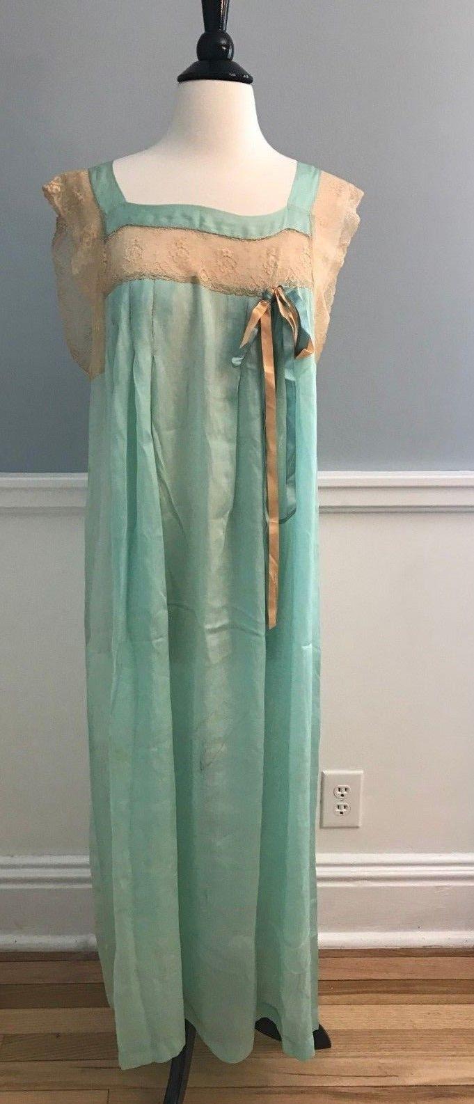 8ddfe56ac95e Vintage Edwardian 1900-1920 Green Turquoise Silk Nightgown Battenburg Lace   179