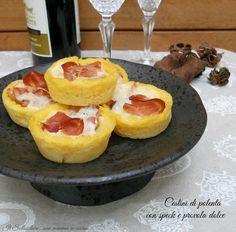 Cestini di polenta con speck e provola dolce