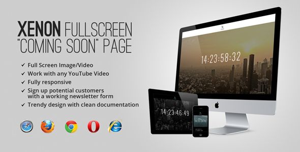 Xenon — Countdown & YouTube Video Background Page