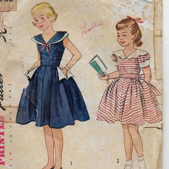 Simplicity 3183, A Full Skirt, Wide Sailor or Double Collar, Short Puff Sleeve or Sleeveless Dress Pattern by So Sew Some!