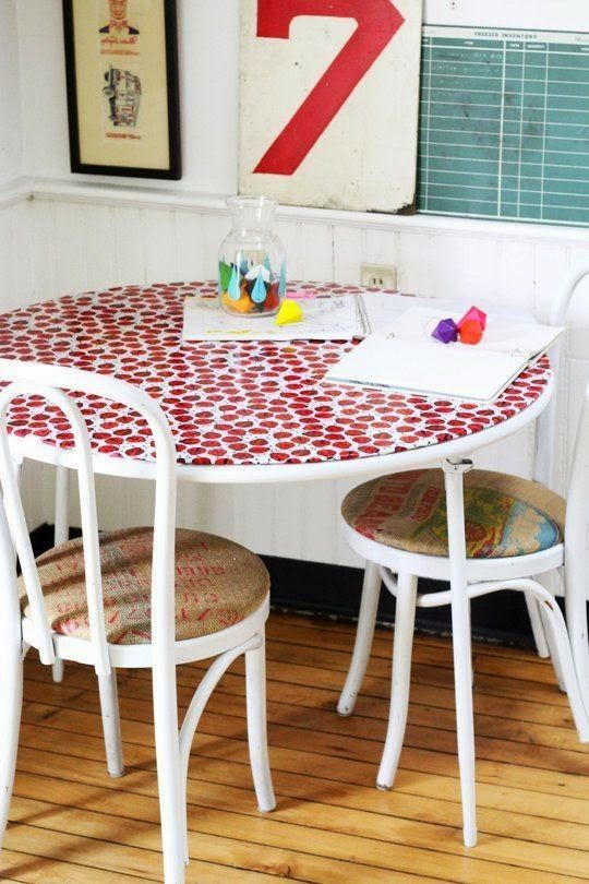 Check out Ashley's great before and after table using laminated cotton!! @apttherapy Oilcloth Addict - Feeding your Oilcloth Addiction with tips and tutorials with Modern June