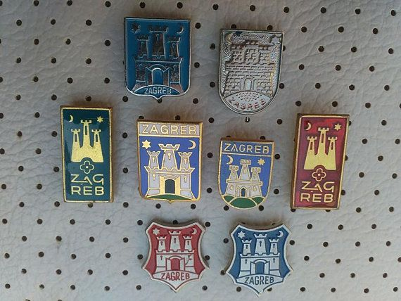 43630a5f8be5 Zagreb Croatia Vintage Coat of Arms Set of 8 Very Old Crests Badges Hrvatska  Travel Croatia Capitol Zagreb Souvenirs