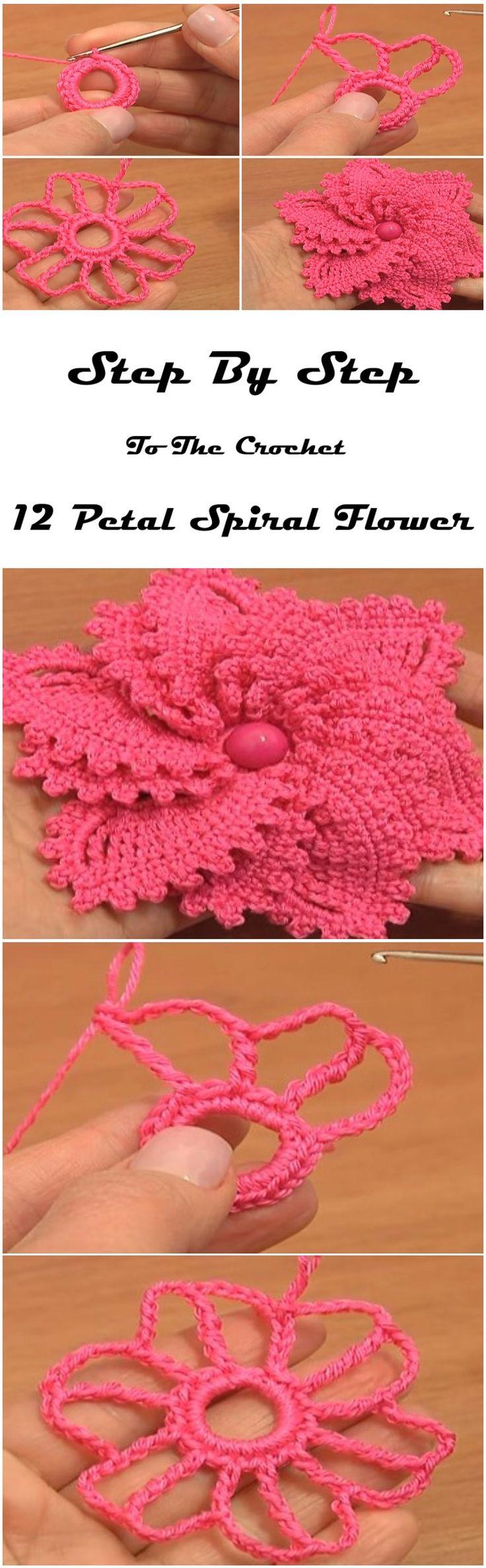 Crochet 12 Petal Spiral Flower