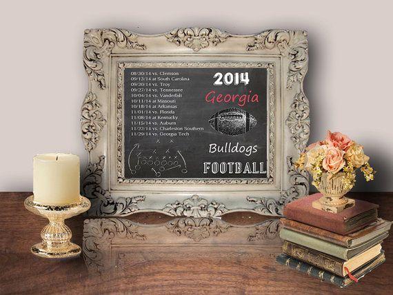 Georgia Bulldogs 2014 Football Schedule, Chalkboard Printable, Printable Wall/Frame Art, Decor Poster, Digital - WallFlower Printables