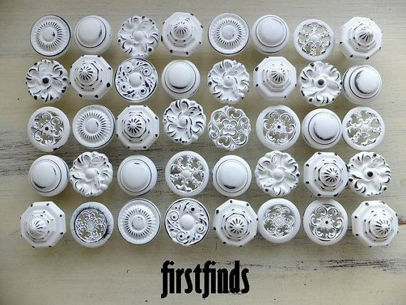 12 Large Misfit Knob Shabby Chic White Kitchen Reno Cabinet Vintage Pantry Bathroom Drawer Pulls