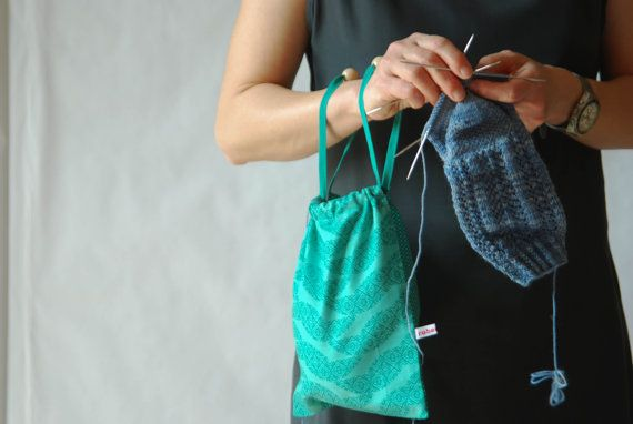 mint green knitting project pouch  drawstring pouch  by robedalez #italiasmartteam #etsyshop #etsy #shopping #giftidea @etsy