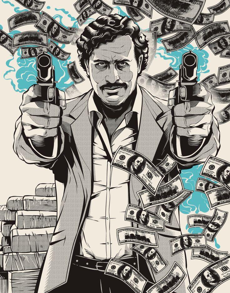 Cristiano Siqueira un ilustrador de Sao Paulo recoge los momentos más importantes de la vida del Pablo Escobar desde sus inicios en el mundo de la droga, pasando por su vida de riqueza y éxito, hasta su persecución y muerte. Curiosamente Cristiano lo relaciona con un color turquesa de lo más dulce, justo la sensación contraria que nos produce la vida y obra del patrón