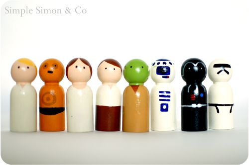 """DIY Star Wars Peg People. Go to Casey's Wood Products here.Order these wooden peg people, paint them or use sharpies, maybe a glossy spray, and voila. Star War """"Peggies"""" found at Simple Simon & Co. here (also Harry Potter """"Peggies"""").Draw your friends, draw your enemies, draw your boss. The possibilities are endless."""