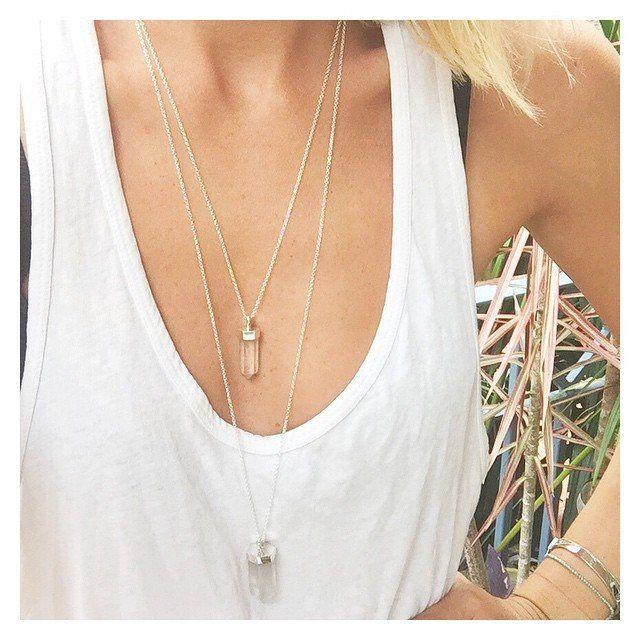 PRE ORDER double droplet necklace   clear quartz