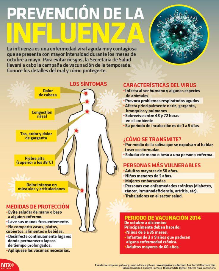 La influenza es una enfermedad viral aguda muy contagiosa que se presenta con mayor intensidad en los meses de octubre a mayo. Para evitar riesgos , la Secretaría de Salud, llevará a cabo la campaña de vacunación de la temporada. Conoce más acerca del tema. #Infographic.