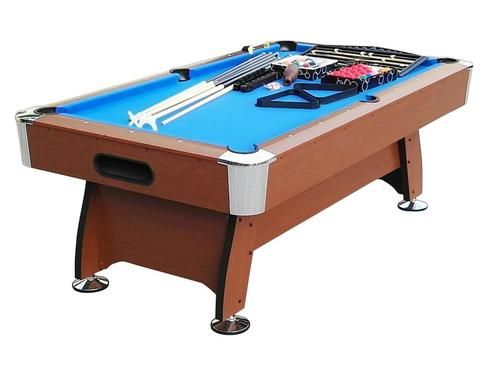 8' x 4.25' Brown and Blue Deluxe Billiard Pool and Snooker Game Table