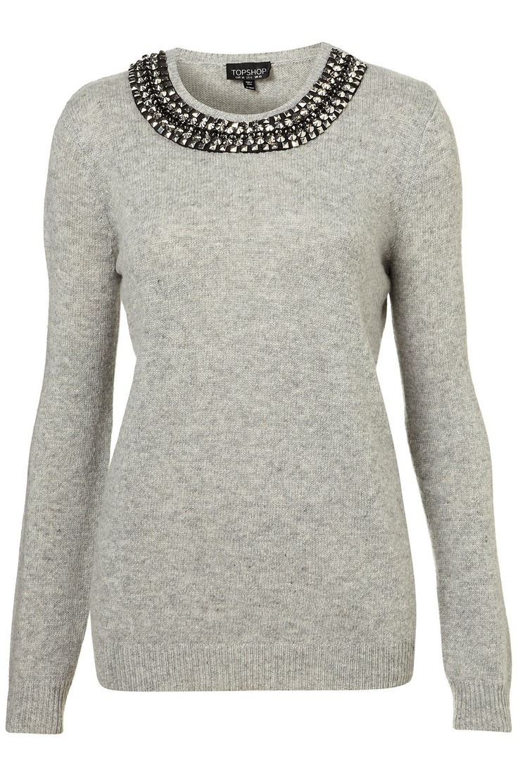 Knitted Necklace Jumper-Topshop