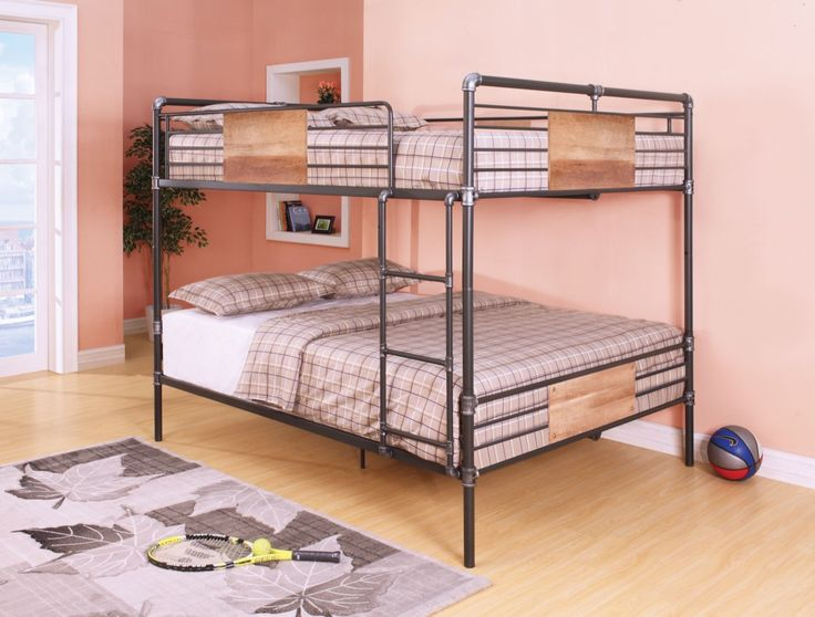 Acme Brantley Queen Bunk Bed Sandy Black Silver 37720 The Collection