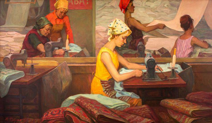 """Горбунов Юрий Васильевич (1933 г.р.) """"Текстильщицы в отделочном цеху""""."""