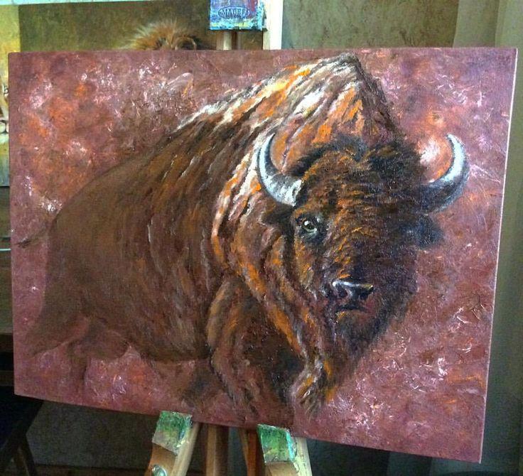 """Я долго выбирала, что буду рисовать в следующий раз… Встречайте моего бизона: дикий, сильный и свободный! А еще я, кажется, обнаружила новую краску в копилку любимых - """"индийская красная""""✨ #инзижен #inzigen #бизон #дикий #wild #bison #bison #буйвол #животные #animal #animals #painting #oilpainting #oil #маслянаяживопись #живопись #painter #art #artist #арт #художник #myart #instaart #ярисую #topcreator #creator #create #творчество #картина #картинамаслом #picture"""