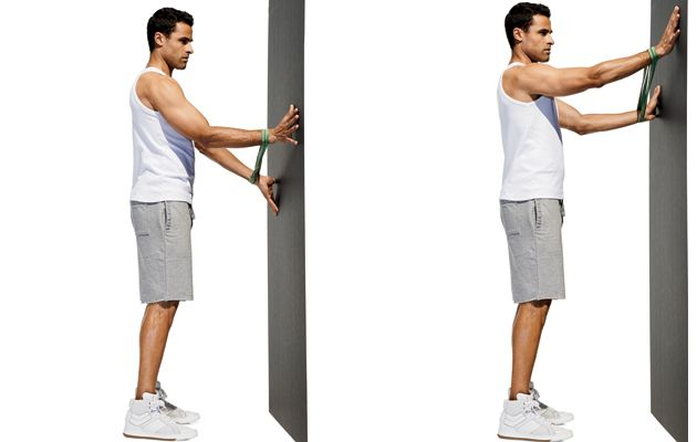 Spier Crawl Wrap a loop band around your wrists and place your hands against a wall with your arms straight. Move your arms apart so there's tension on ...
