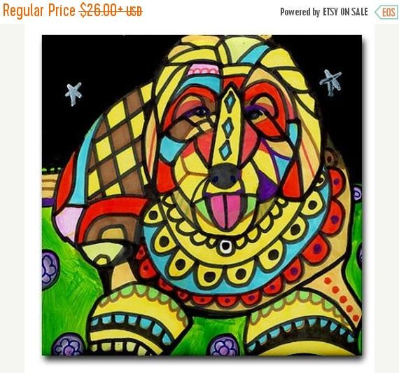 45% Off Today- Goldendoodle art Tile Ceramic Coaster Mexican Folk Art Print of painting by Heather Galler dog