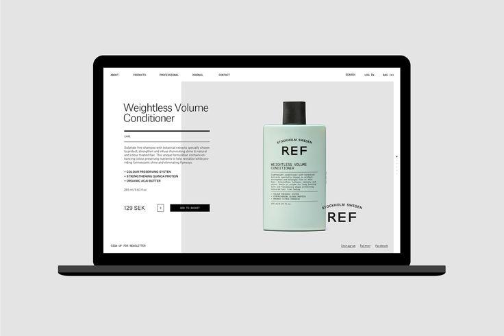 Visual identity and website by Scandinavian studio Kurppa Hosk for Swedish hair care brand REF