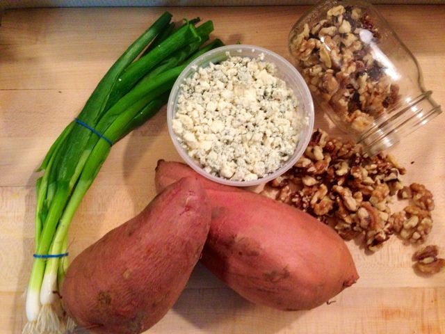 Baked sweet potatoes with walnuts, blue cheese, and scallions. 4 ...