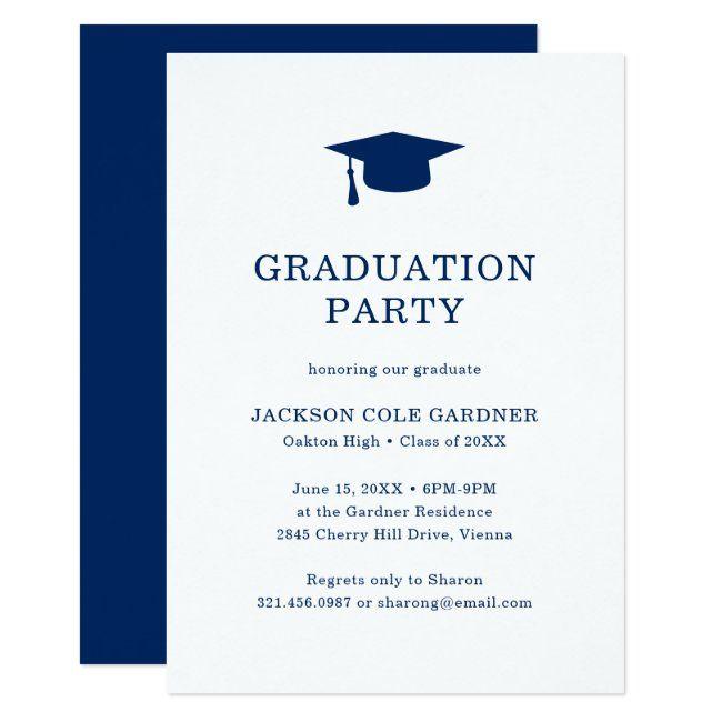 Simple Classic Navy Blue White Graduation Party Invitation Zazzle Com In 2020 Graduation Party Invitations Graduation Party White Graduation