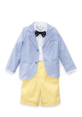 J. Khaki Yellow 3-Piece Seersucker Jacket Short Set Toddler Boys