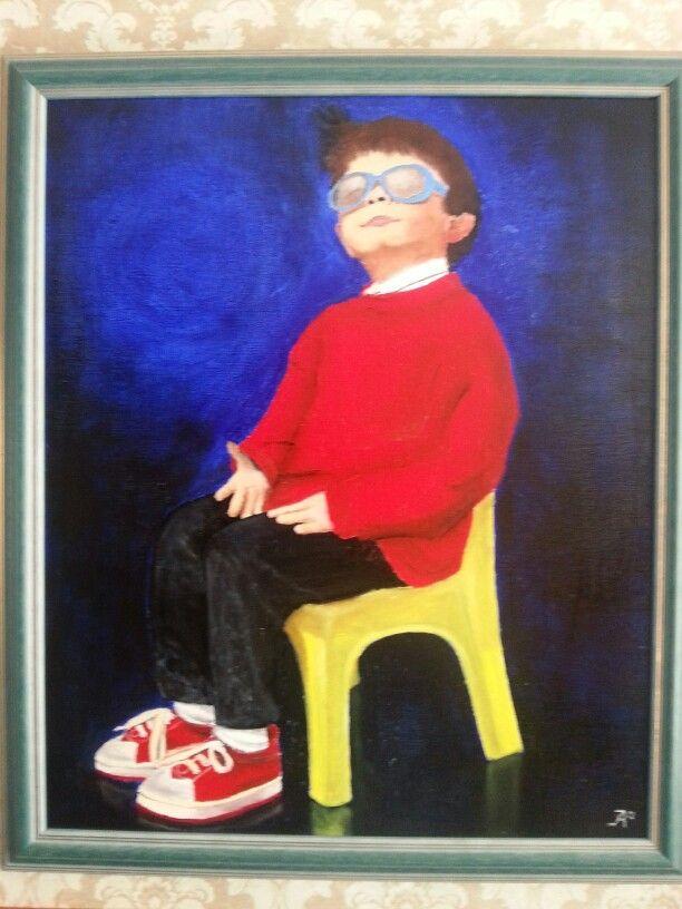 Jan op stoel. Olieverf op linnen 50 x 60 cm.
