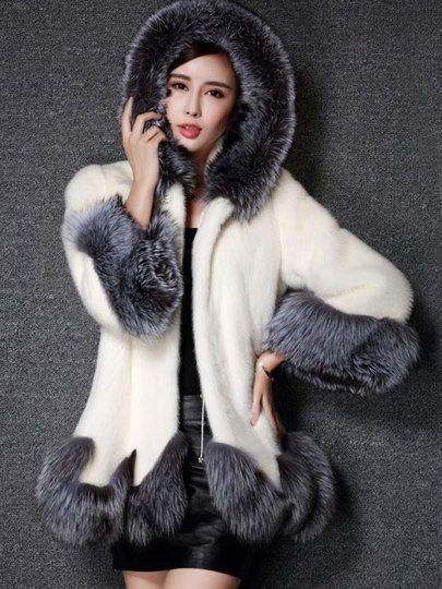 Imitation Pelz Mantel Kaninchen Haare Wintermante Mit Kapuze
