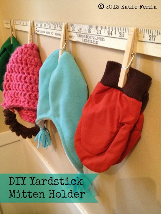 Create a hat and mitten holder with a yard stick and clothes pins. Easy $2.00  #DIY project.