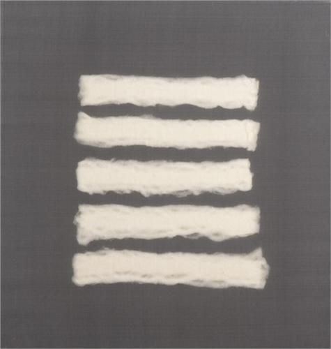 Henk PEETERS: Five Pieces of Cotton Wool. Nylon cotton wool and plastic on canvas; Zero movement (Minimalism)