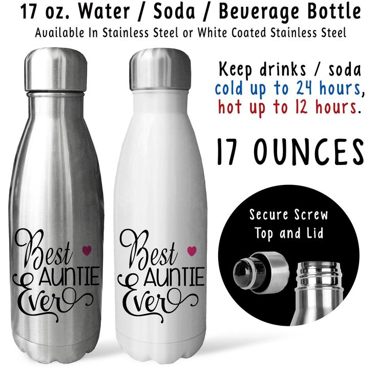 Soda Water Bottle - Best Auntie Ever 001, Mothers Day, Auntie Gift, Auntie Mug, Drink Bottle, Gift Idea, Stainless Steel Reusable Bottle