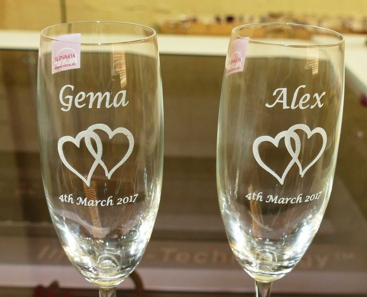 Engraved wine and champagne glasses made to order. Individual glasses. Order wooden box sets for special gifts