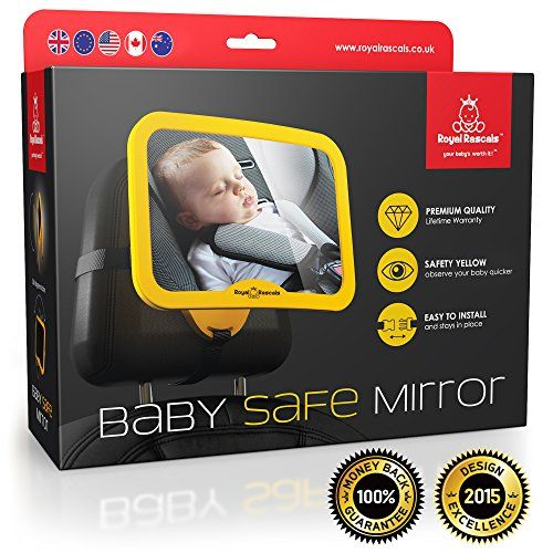 NEW RELEASE ★ Baby Car Mirror ★ WHY SAFETY YELLOW? CLICK TO SEE! ★ THE #1 safest rear view mirror for rear facing baby seat , 100% shatterproof , PREMIUM SAFETY ★ BONUS Baby on Board sign BONUS ★